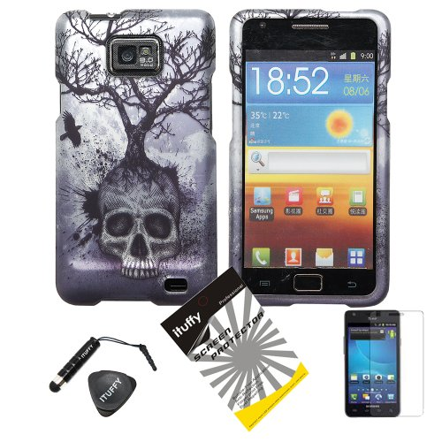 4-items-Combo-Stylus-Pen-Screen-Protector-Film-Case-Opener-Silver-Blue-Greyish-Tree-Skull-Design-Rubberized-Snap-on-Hard-Shell-Cover-Faceplate-Skin-Phone-Case-for-Samsung-Galaxy-S2-SII-II-2-SGH-i777-i