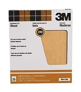 "3M Pro-Pak 99411NA  9""by11"" Garnet Sand Paper Sheets 220 Grit - 25 Pack"