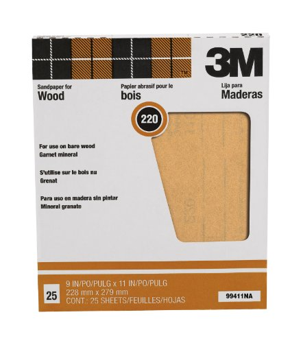 3m-pro-pak-99411na-9by11-garnet-sand-paper-sheets-220-grit-25-pack