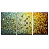 Asdam Art--100% Hand Painting Painting 3 panels 3D oil painting On Canvas Gold Daisy Wall Art for living Room bedroom Hallway Home Office Hotel Wall Decor (20x30inchx3)