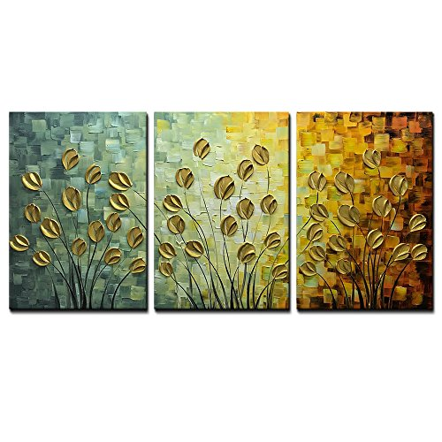 Asdam Art--100% Hand Painting Painting 3 panels 3D oil painting On Canvas Gold Daisy Wall Art for living Room bedroom Hallway Home Office Hotel Wall Decor (20x30inchx3) by Asdam Art