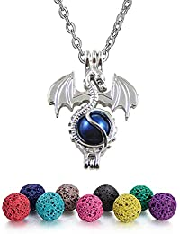 Aromatherapy Essential Oil Diffuser Necklace Locket Pendant with Lava Beads