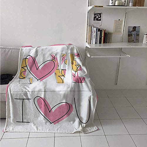 maisi I Love You Weave Pattern Extra Long Blanket Childish Love Words in Valentines Flowers and Heart Sketchy Hand Drawn Custom Design Cozy Flannel Blanket 80x60 Inch Yellow Baby Pink