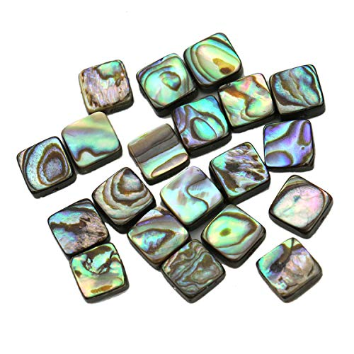 Diagonal Of A Square - JETEHO 20 Pcs Abalone Shell Beads Natural Diagonal Square Flat Abalone Shell Semi Precious Gemstone Beads for Jewelry Making, 8x8x3mm