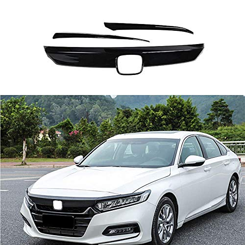 Trim Grille - MotorFansClub Front Grille Cover Moulding Trim for Honda Accord 2018 ABS Glossy Black Lip Bumper, 3PCS