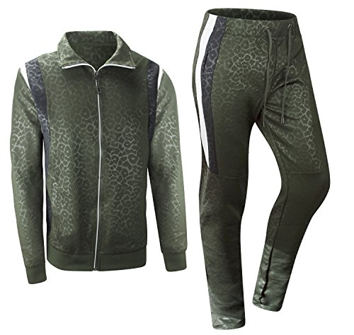 ALMAS APPAREL New Men Stripe Zip Pocket Track Pants Sweatsuit Track Suit (Large, Olive-Trill)