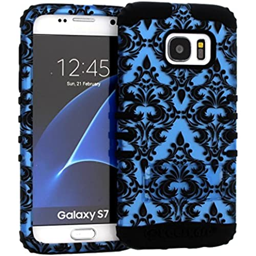 Galaxy S7 Case, Hybrid Heavy Duty Rugged Armor Kickstand Shock Proof Impact Resistant Grip Cover for Samsung Galaxy S7 (Blue Damask / Black) Sales