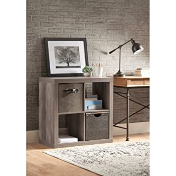 Better Homes and Gardens.. Furniture 3-Cube Room Organizer Storage Bookcases Weathered 3 Cube, Weathered Rustic Gray, 4-Cube