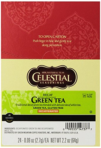 Celestial Seasonings Decaf Green Tea, K-Cup Portion Pack for Keurig K-Cup Brewers, 24-Count
