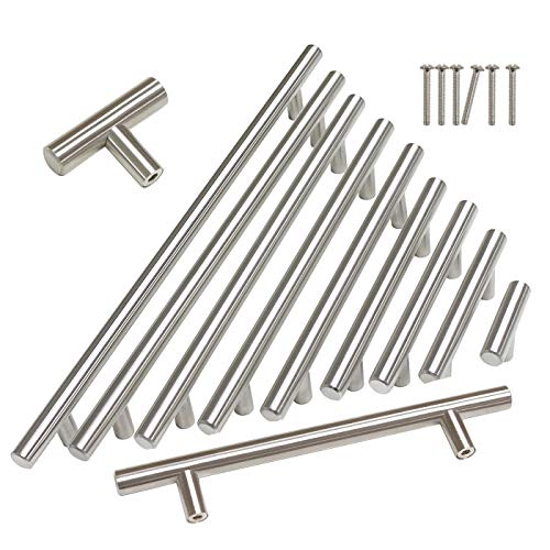 Gobrico Hollow Single Hole Euro style T Bar Brushed Nickel Handles Pulls for Cabinet Cupboard Kitchen 2