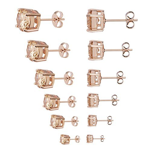 Womens Stud Earrings Stainless Steel 6 Pairs Set,Rose Gold Tone Yellow Crystal Cubic Zirconia (3mm-8mm)