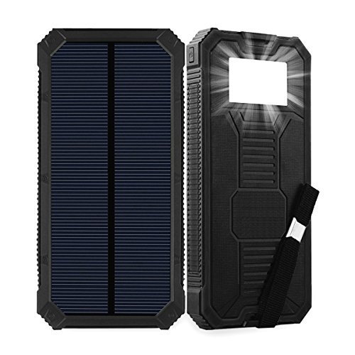 Friengood Solar Power Bank 15000mAh Portable Solar Phone Charger with Dual USB Ports, Solar External Battery Charger with 6 LED Flashlight for Cell Phone, Tablet, Camera and More (Black) by Friengood