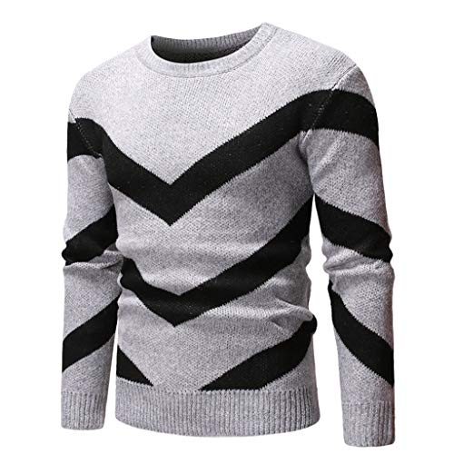 Fashion Knitted Sweater, SFE Men's Long Sleeve Elastic O-Neck Casual Top Blouse Sweatshirts