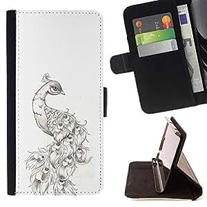 TATTOO INK BLACK PEACOCK DRAWING WHITE/ Personalizada del estilo del dise???¡Ào de la PU Caso de encargo del cuero del tir????n del soporte d - Cao - For Samsung Galaxy S3 Mini I8190Samsung Galaxy S3 Mini