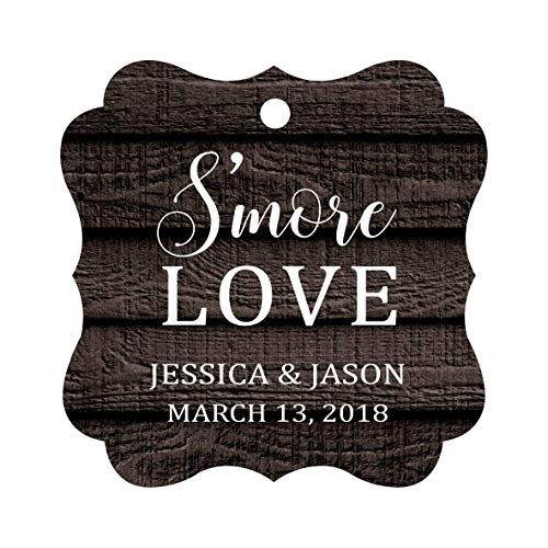 Darling Souvenir S'More Love Personalized Wedding Favor Tags Bonbonniere Hang Tags-Dark Wood-100 Tags