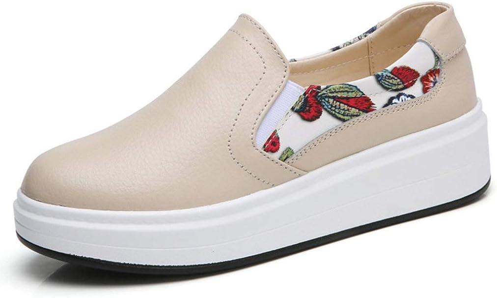 Mocasines de Mujer Zapatos de Cuero Suave y Transpirable Impresión de Flores Slip On Zapatillas de Deporte Casuales para Mujer Zapatos de Plataforma Plana para Mujer
