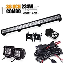 """TURBO SII 36"""" Inch Led Light Bar 234w 20000lm-23400lm Flood And Spot Combo Beam Work Light + 4 Inch Led Work Light Bar &3 lead Wirng Harness Kit for Van Camper Wagon Pickup ATV UTE SUV Boat 4x4 Jeep Offroad"""