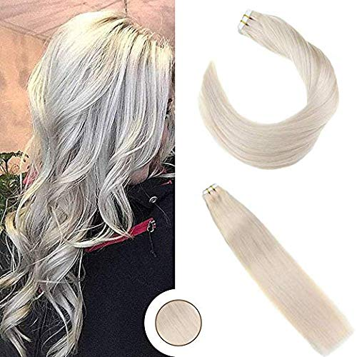 Ugeat 18Inch Seamless Remy Tape in Hair Extensions Real Human Hair #24 Platinum Blonde Tape in Hair Extensions Skin Weft Hair 20Pcs 50Gram