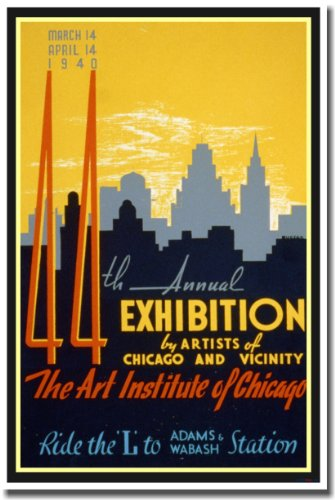 44th Annual Exhibition - The Art Institute of Chicago - Vintage WPA Reproduction Poster