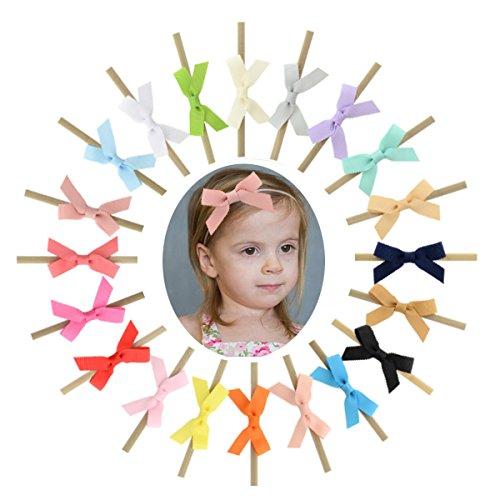 Baby Nylon Headbands 2.5 Tiny Hair Bow Elastics Hair Bands for Baby Girls Toddlers Kids 20PCS