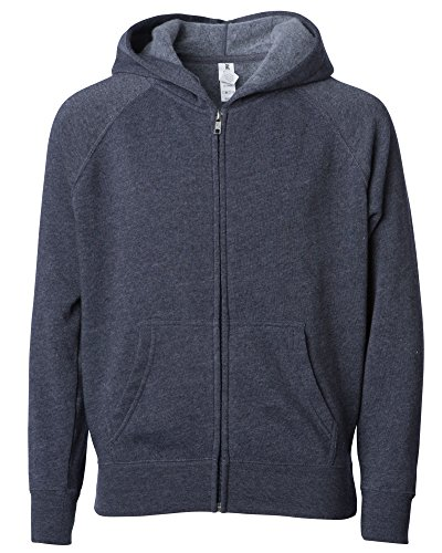 Global Blank Medium Youth Lightweight Soft Fleece Navy Blue Zip Hoodie for Boys and Girls