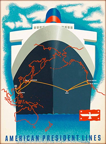 American Line Cruise Ship (American President Lines Cruise Ship Vintage Ocean Liner Travel Advertisement Art Poster. Poster measures 10 x 13.5 inches)