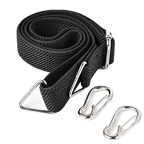 Marcobrothers Flat Bungee Cord with Hooks Adjustable Fits Size (Black)