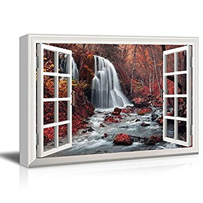 Window View Cascading Waterfall in Mountains with Red Trees Gallery - Canvas Art Wall Art - 12x18 inches