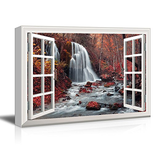 Window View Cascading Waterfall in Mountains with Red Trees Gallery