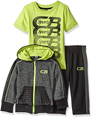 CB Sports Little Boys' Toddler Fleece Hooded Jacket and Pant With Graphic Print T-Shirt, Neon Yellow, - Graphic Print Jacket