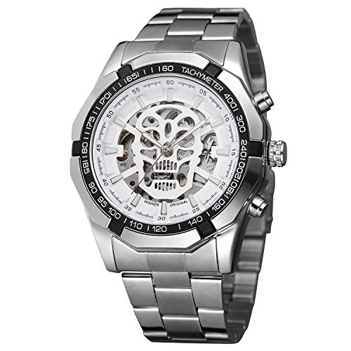 Luxury Mens Large Face Gold Skull Watch Skeleton Mechanical Watch Steel Band Waterproof Automatic Watch (Silver White)