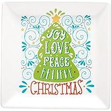 Christmas Serving Plate, Love Joy Peace Believe, Square Shape