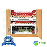 APEXBRAND Spice Shelf Rack Stackable Organizer Jar 64 Cabinet RV Trailer Small Area Kitchen Bathroom Adjustable