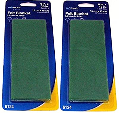 """Self-Stick Furniture Felt Sheet for Hard Surfaces to Cut into Any Shape (2 piece) - Green, 6"""" x 18"""" Sheet"""