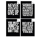Inspirational Quotes ● 8″ x 10″ inches ● Motivational Posters ● Quote Wall Decals ● Gym Motivation ● Typography Art ● Inspirational Poster ● Inspirational Wall Art ● Set of 4 Motivational Quotes