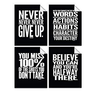Lushleaf Designs Motivational Quote Workout Gym Posters – 8×10 – Set of 4 – Classroom Office Wall Art – Inspirational Teen Boy Girl Fitness Success Sports Goal Hard Work Black Paper Poster Finish