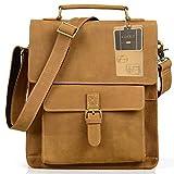 AIDERLY Messenger Bag Genuine Leather Satchel Handbag Ipad Shoulder Bag, LJ-8012