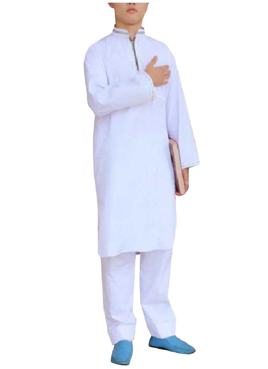 Abetteric Mens 2pcs Set Islamic Mandarin Collar Muslim Salwar Suit Sets White 52