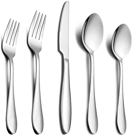 Heavy Duty Knifes//Forks//Spoons 20-Piece Flatware Silverware Cutlery Set 20-Piece Flatware Set Stainless Steel Utensils Tableware Sets Service for 4 Dishwasher Safe and Easy to Clean