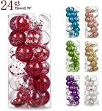 AMS 2.76'/24ct Shatterproof Clear Plastic Christmas Ball Ornaments Decorative Xmas Balls Baubles Set with Stuffed Delicate Decoration (70mm Red)