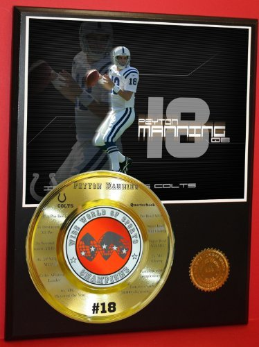 Peyton Manning Colts Nfl Champion Wide World Of Sports Stat Plaque - Sports Memorabilia by Gold Record Outlet
