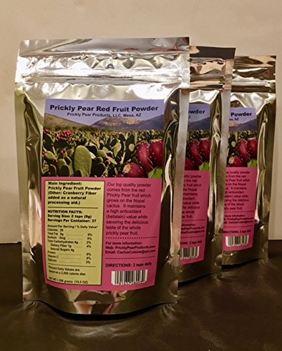 PRICKLY PEAR RED FRUIT POWDER (with Cranberry Fiber): 3 Resealable mylar bags. With 2 teaspoons daily it provides a 3 months supply. by Prickly Pear Products, LLC