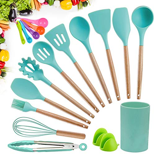 Kitchen Utensil Set, CROSDE 15pcs Cooking Utensils Set Silicone Kitchen Tools Wooden Spatula Set Cookware Turner Tongs Spatula Spoon Kitchen Gadgets with Holder - Teal