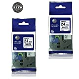 Pack Of 2 Beto Replacment TZ251 TZe251 Black On White Tape For Brother P Touch Labeler