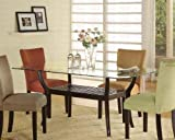 Coaster Home Furnishings Rectangular Dining Table Glass Top Cappuccino Finish