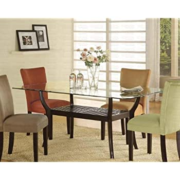AmazoncomRectangular Dining Table with Glass Top Cappuccino