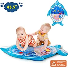Soopotay Tummy Time Water Mat, Infant Baby Toys Inflatable Play Mat for 3 to 12 Months Newborn Girl Boy