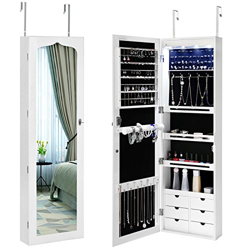 SONGMICS LED Jewelry Cabinet Armoire 6 Drawers Lockable Door Mounted Jewelry Organizer with White - Sunglasses Display Wall