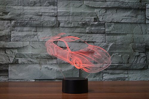 3D Illusion Led Lamp, 7 Color Changing Touch Table Desk 3D Deco Light for Bedroom Children Room Festival USB Powered Decorative Night Light (Racing car) by Fding