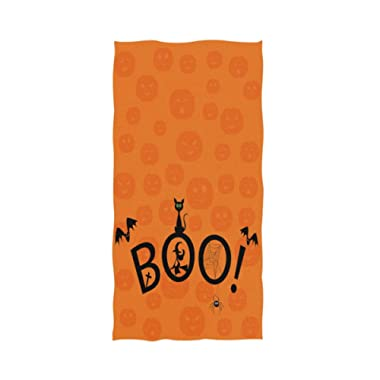 Naanle Halloween Boo Pattern with Black Cat Witch Pumpkin Soft Bath Towel Highly Absorbent Large Hand Towels Multipurpose for Bathroom, Hotel, Gym and Spa (16 x 30 Inches,Orange)